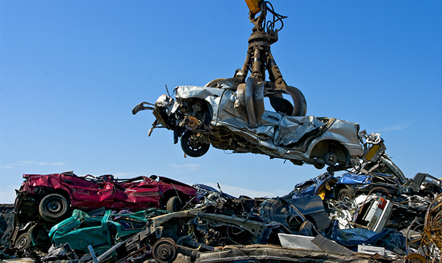 Cars in scrap yard