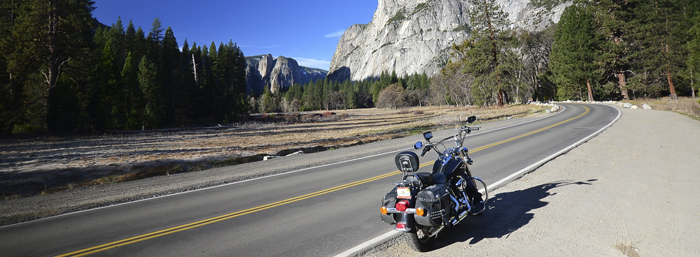 Harley-Davidson in the hills around Yosemite National Park 700px