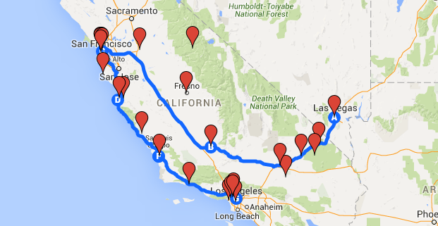 The route map of our USA motorbike road trip