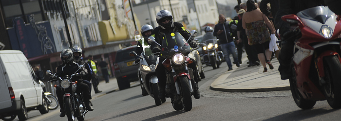 Motorbikes on the road Southend Shakedown