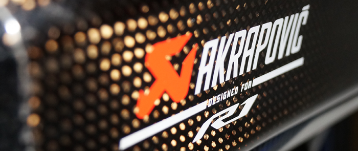 Akrapovic exhaust close up wide