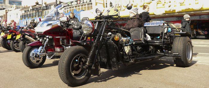 Trikes parked up in Southend during the Southend Shakedown