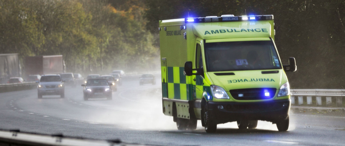 ambulance on the road in UK 700px