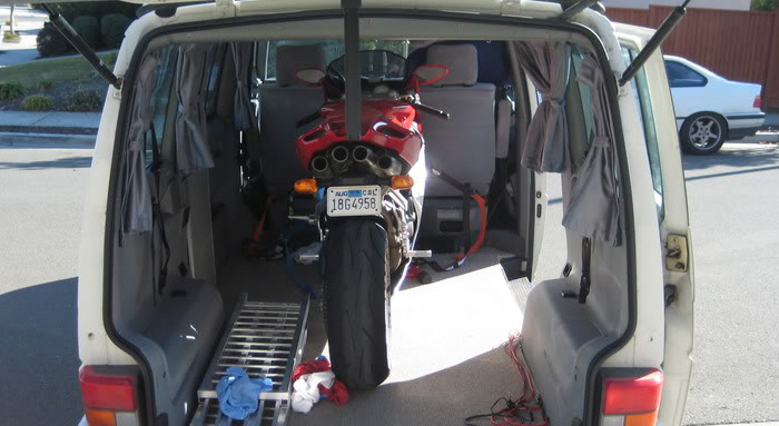 bike in back of van for transportation