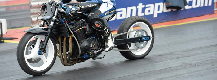 modfied motorcycle on the drag at Santa Pod 700px