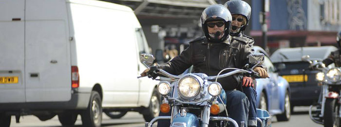 motorbike with a passenger wide at the Southend Shakedown