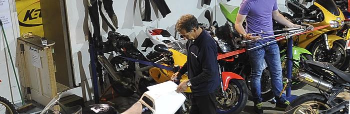 motorbikes in garage