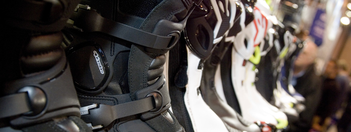 motorcycle boots up close at Motorcycle Live