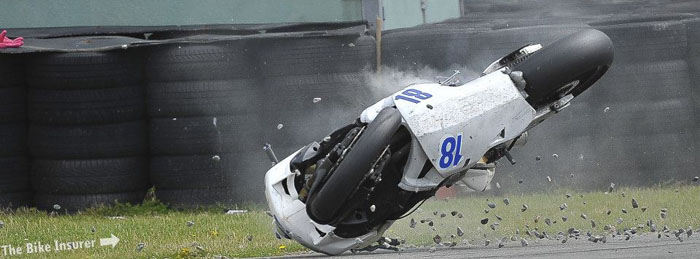 motorcycle crash at Anglesey race track
