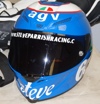 Steve Parrish helmet up close