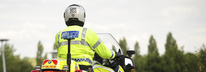 police man on a motorbike in Essex and Hertfordshire