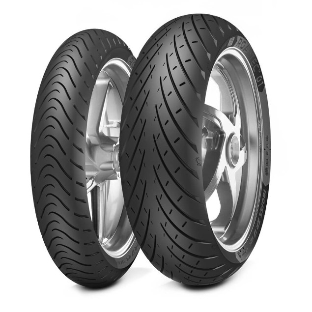 Black motorcycle tyres