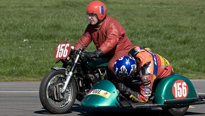 sidecar racing with a full lean