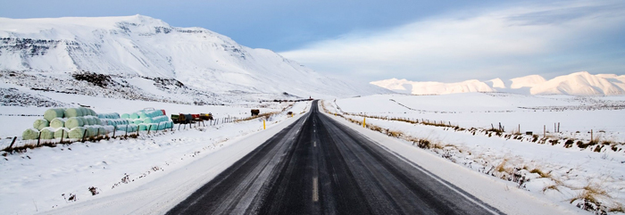 UK road in winter