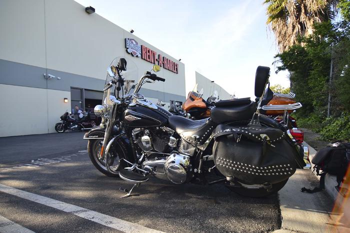 Harley Davidson outside Eagle Rider in LA