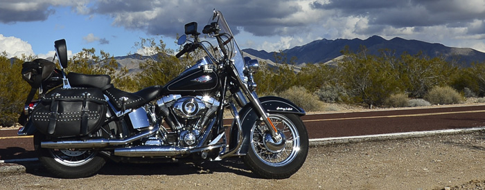 Harley-Davidson Heritage Softail Classic in the desert Nevada 700px