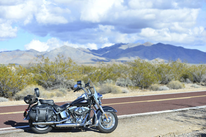 Harley-Davidson Heritage Softail Classic in the Mojave Desert