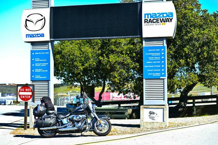 Laguna Seca entrance with Harley