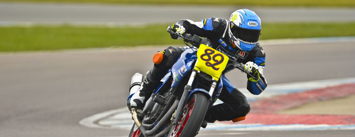 Lewis Osler in new leathers at ACU Test Day (Donington Park)