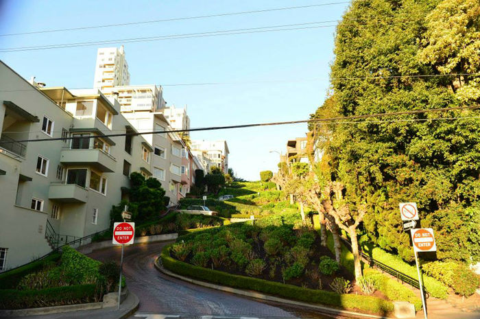 Lombard Street, San Francisco in the early morning sun