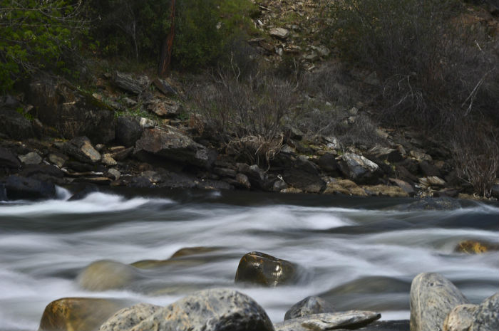 The Merced river flowing fast in Yosemite