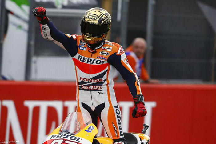 Mark Marquez celebrating at the Valencia MotoGP
