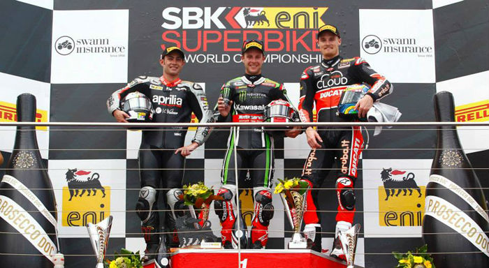 Podium at Phillip Island after Round One of World Superbikes