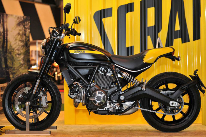 Ducati Scrambler on display at Motorcycle Live 2014 for its UK debut