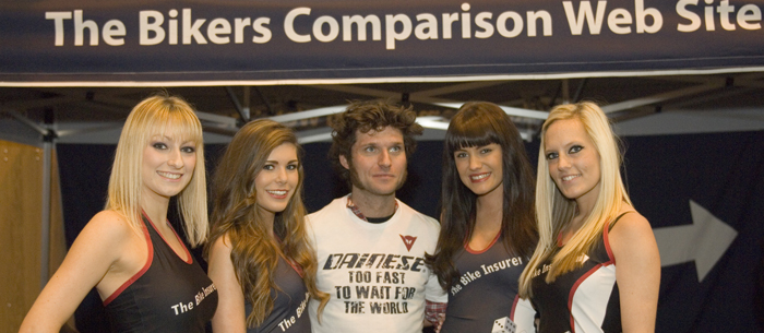 Guy Martin with The Bike Insurer girls at the 2012 Manchester Bike Show