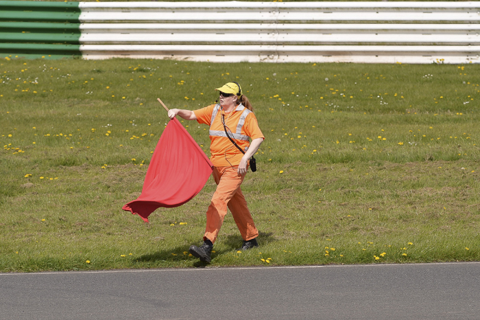Marshal with red flag at EMRA