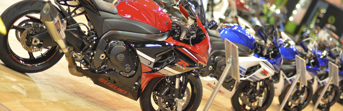 Motorcycle Live Suzuki bikes lined up on the Japanese manufacturer's stand