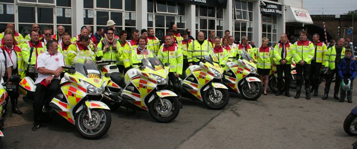 Volunteers from the UK's Blood Bikers outside the Ace Cafe