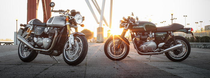 2016 Triumph Thruxton and Thruxton R in side profile