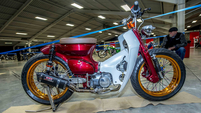 Custom Honda C90 at Kickback Motorcycle Show