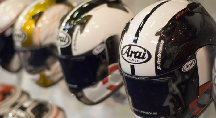 Arai Helmets on display at Motorcycle Expo with tinted visors