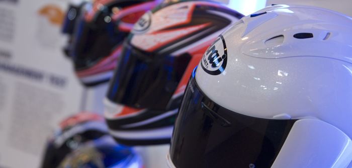 Arai lids with tinted visors on display at Motorcycle Live 2012