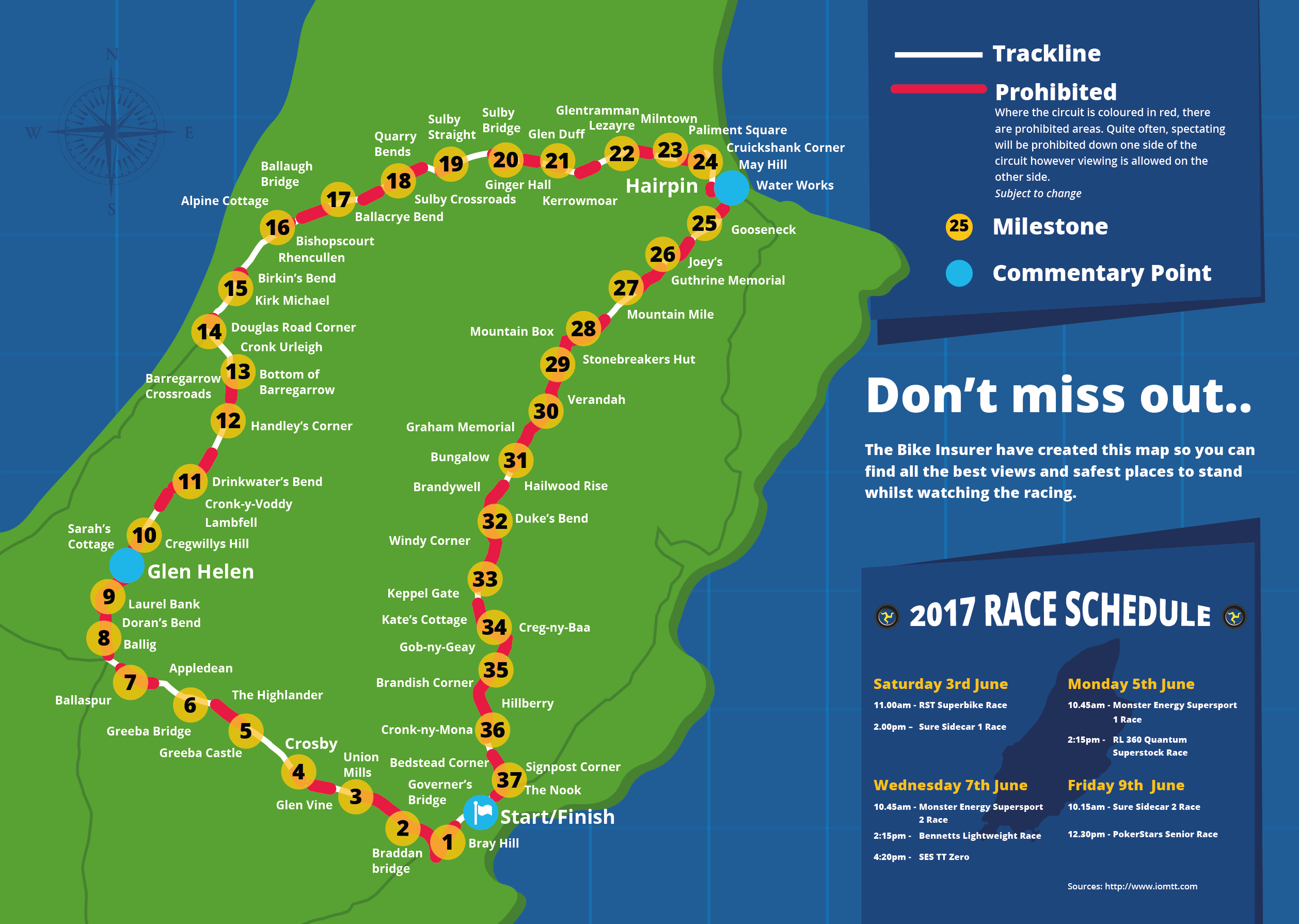 Isle Of Man TT Circuit Map And Guide The Bike Insurer - Isle of man map