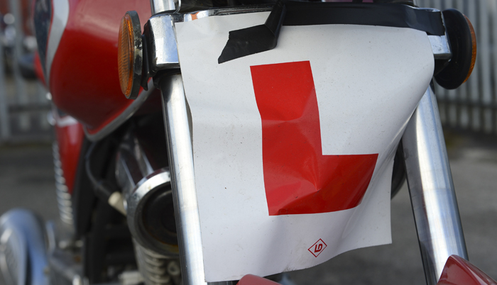 LEarner plate on a learner's bike during their CBT