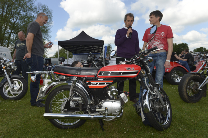 Steve Parrish and a Yamaha 50cc on display at the Herts Auto Show 2016