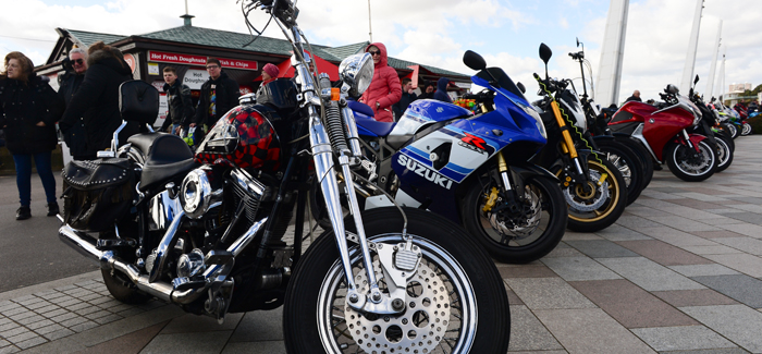 Bikers lined up on the promenade at Southend