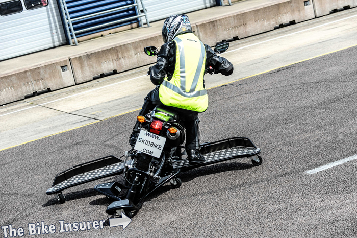 Skid bike in action at Rockingham