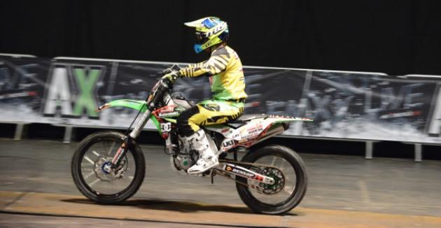 Motocross rider on motorbike
