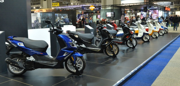 Scooters lined up at exhibition