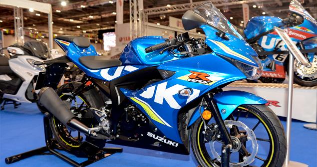 blue suzuki bike