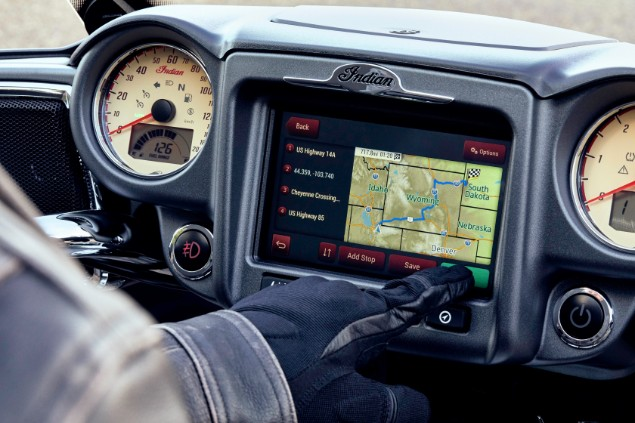 Close-up-of-Indian-chief-motorbike-gps-system
