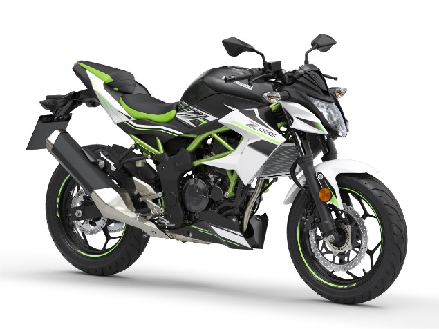 Black-and-lime-green-2019-Kawasaki-Z125-motorbike-stationary