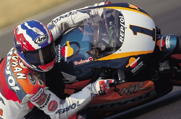Mick-Doohan-racing-on-Honda-motorcycle