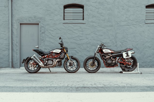 Indian-FTR1200S-and-FTR1200-motorbikes-stationary-facing-each-other