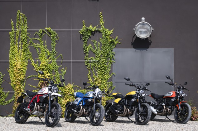 Three-new-Ducati-Scrambler-motorbikes-lined-up-next-to-each-other