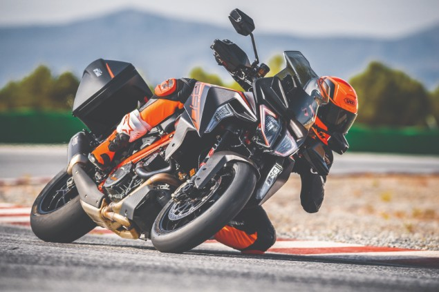 Red-2019-KTM-1290-Super-Duke-GT-in-action